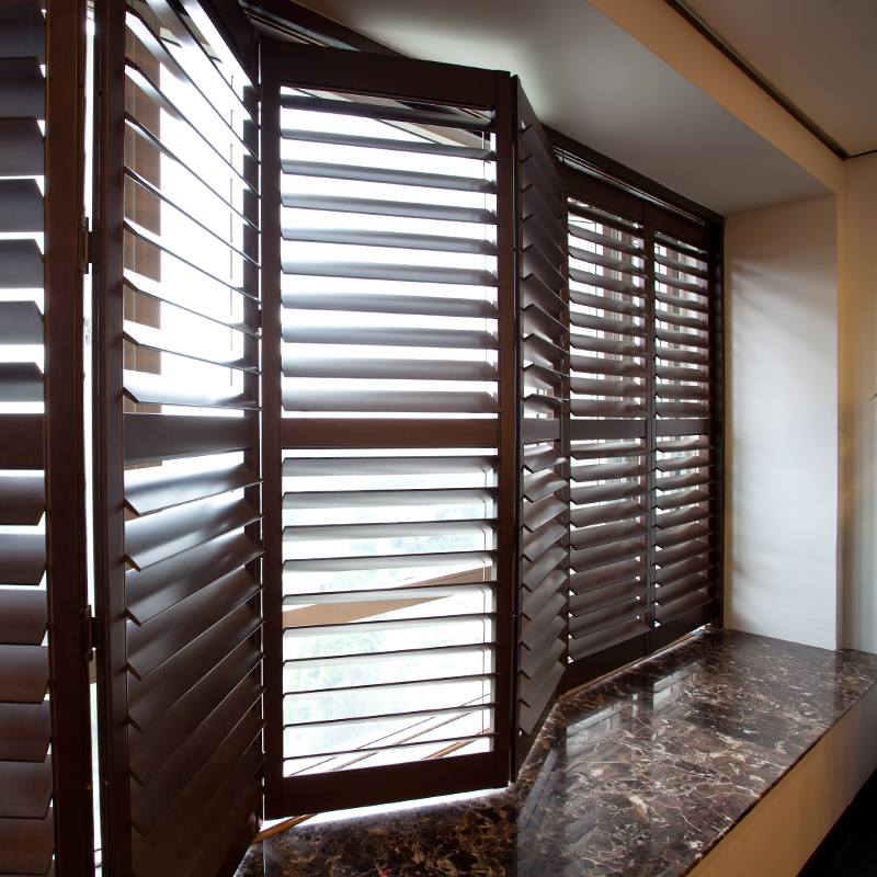 Basswood shutter European style wooden curtain door shaped ventilation window the living room became custom(China (Mainland))