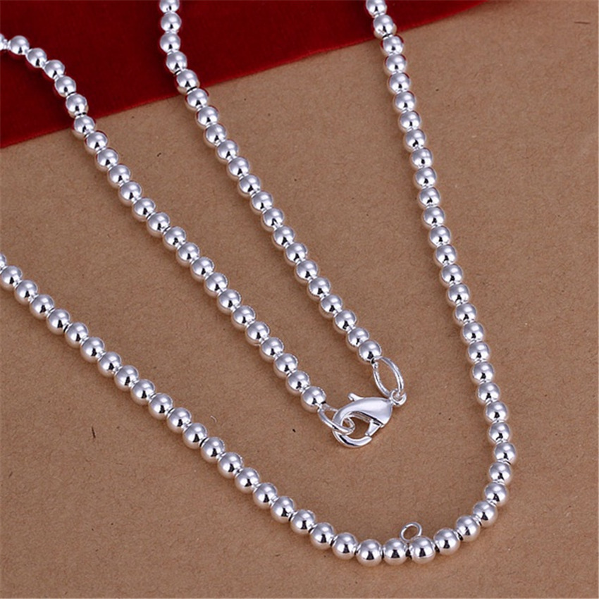 New Listing Hot selling silver plated refined luxury high quality 4M beads Necklace Fashion trends Jewelry Gifts(China (Mainland))