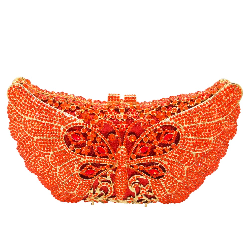 Gift Box Packed Women's Orange Crystal Rhinestones Animal Evening Clutches Wedding Party Cocktail Butterfly Handbag Clutch Bag(China (Mainland))