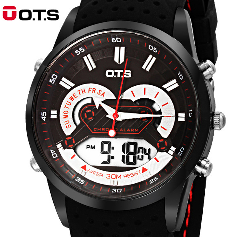 Top Brand OTS Cool Men Watch Digital Sport Watches LED 10M Waterproof Men clock timing Sports Analog Wristwatches 2016 Fashion(China (Mainland))