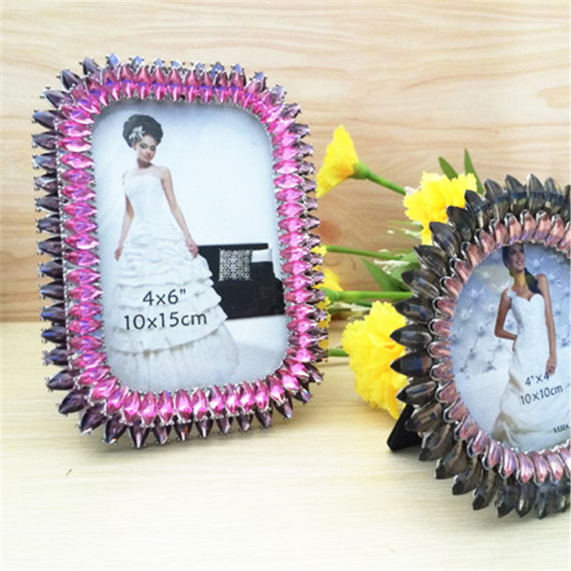 Oval or Rectangle Wedding Photo Frame Metal Alloy Home Decor Bridal Birthday Gifts Metal Alloy Frame with Crystal diamon PF-019(China (Mainland))