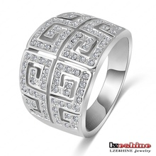 LZESHINE Brand Design Rhinestone Ring Platinum Plated Letter G Ring With SWA Element Austrian Crystal Free Shipping ITL-RI0004-b