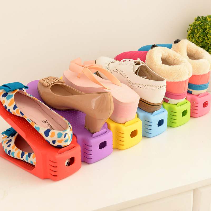 5pcs/lot Shoes Rack Shoes Organizer Space Saving Shoes Tree Stand Shoe Storage Holder Adjustable Magic 2 Tier(China (Mainland))