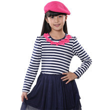 2015 spring and autumn hot sale baby girls fashion dress little girls lace patchwork clothing YGL33498(China (Mainland))