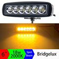18W 6inch Amber Single Row Led Light Bar Yellow Led Work Light Striplights Highlight for Indicators