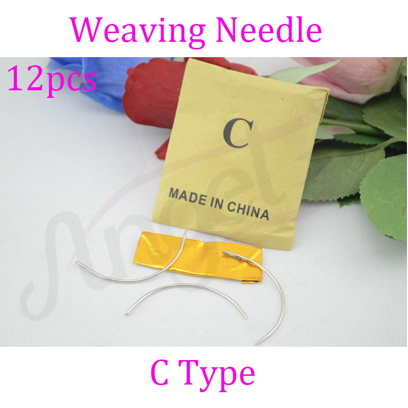 Charlie's Angels 12pcs Long C TYPE Curved Needles Hair Weaving Thread/Sewing Needles For Hair Extension Tool(China (Mainland))