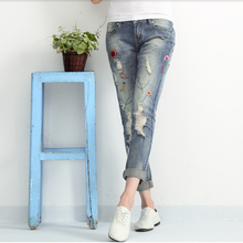 Spring/summer ripped jeans woman holes denim pants embroidered leisure jeans pants for women loose blue female jeans trousers(China (Mainland))