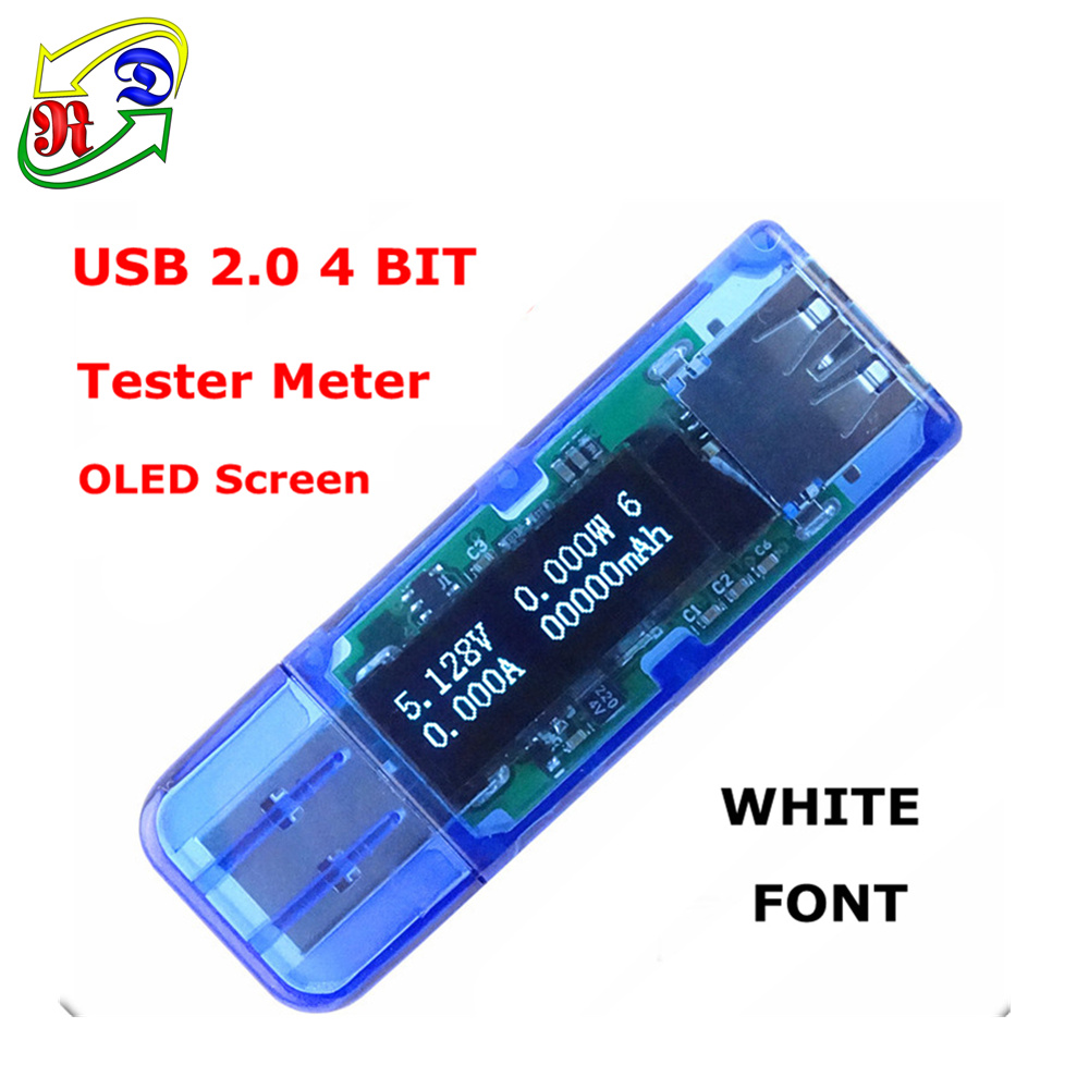 RD White 4 bit color OLED USB detector USB voltmeter ammeter power capacity tester meter voltage current power bank charger(China (Mainland))