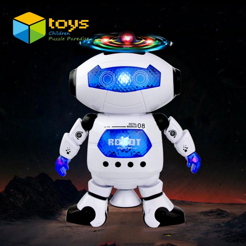 Lovely Electric Smart Space Walking Dancing Robot for Children Kids Music Light Model Safe Toys Pets Gift(China (Mainland))