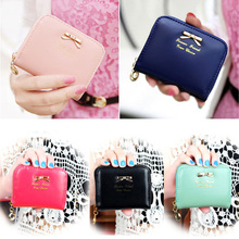 2015 Fashion Lady Coin Purse Colorful PU Leather Zip Around Women Wallets Card Holder Mini Pouch