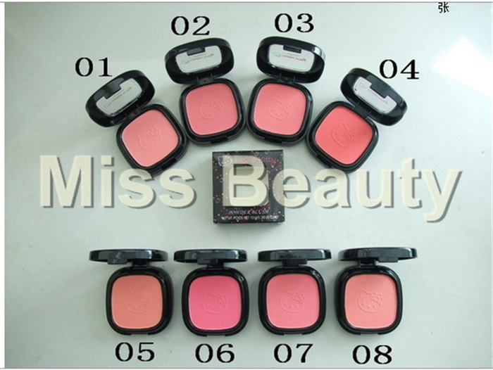 2015 New Brand MC Makeup Hello Kitty Powder Blush Blusher 10g 8 Colors Choose DHL Free shipping 36pcs/lot(China (Mainland))