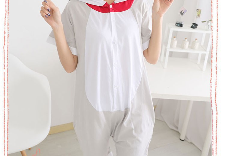 New Unisex Adult Summer One Piece Pajamas Animal Onesies Cheese Cat Cosplay Costume Pyjamas Sleepsuit Tabby Cat Gift