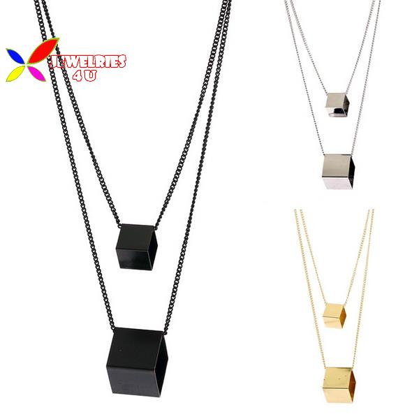 2015 new fashion designer punk gold silver black copper square cubic geo false collar pendant necklace for women para el collar(China (Mainland))