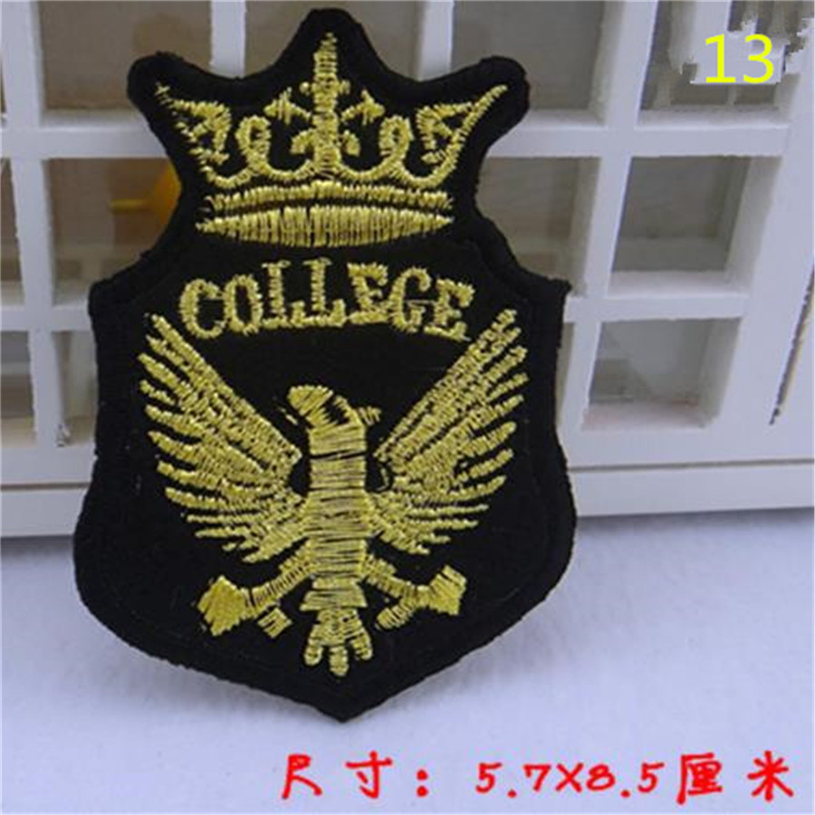 Patch Apparel Sewing Cute Badge COLLEGE Logo Black Patches For Clothing,winter jacket men, snapback, girls clothes FreeShipping(China (Mainland))