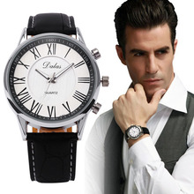 2015 NEW Brand MEN BOY Dress Casual Quartz Male Clock Faux Leather Wristwatch Quality Gift relogio masculino