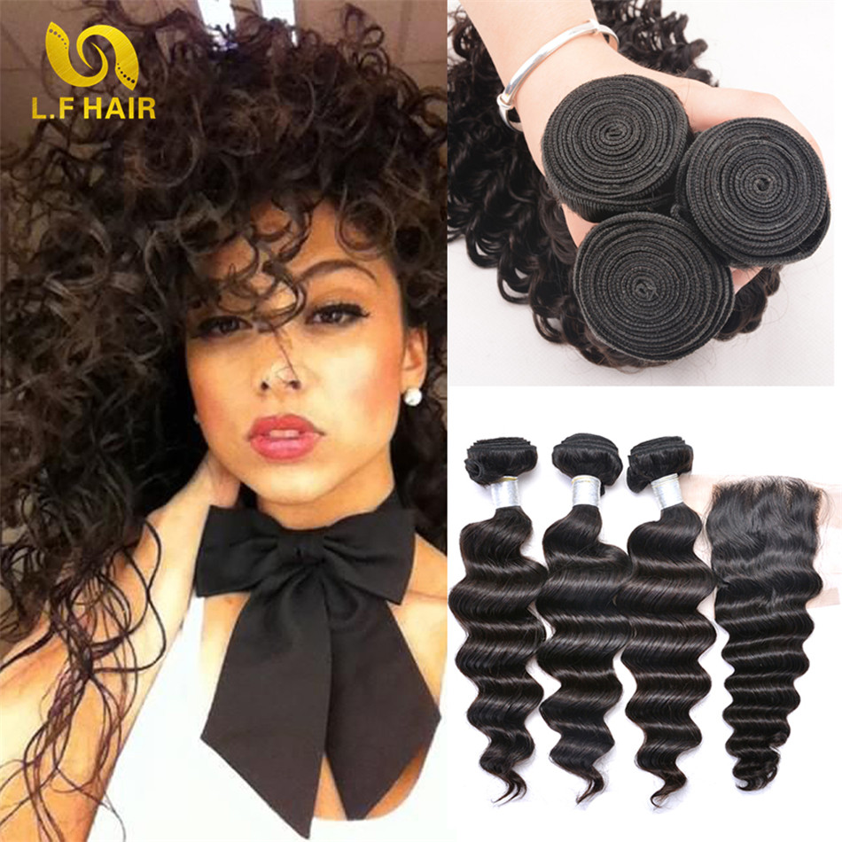 Grace Hair Products With Closure 7a Deep Curly Brazilian Hair With Closure 3 Bundle Brazilian Hair Weave Bundles With Closure<br>