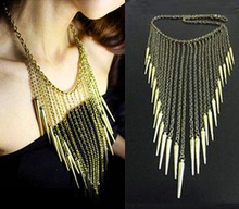 Woman Maxi Necklace Collar Chain Multi-layer CCB Rivet Long Tassel Necklace Punk Vintage Jewelry for Woman Bijoux