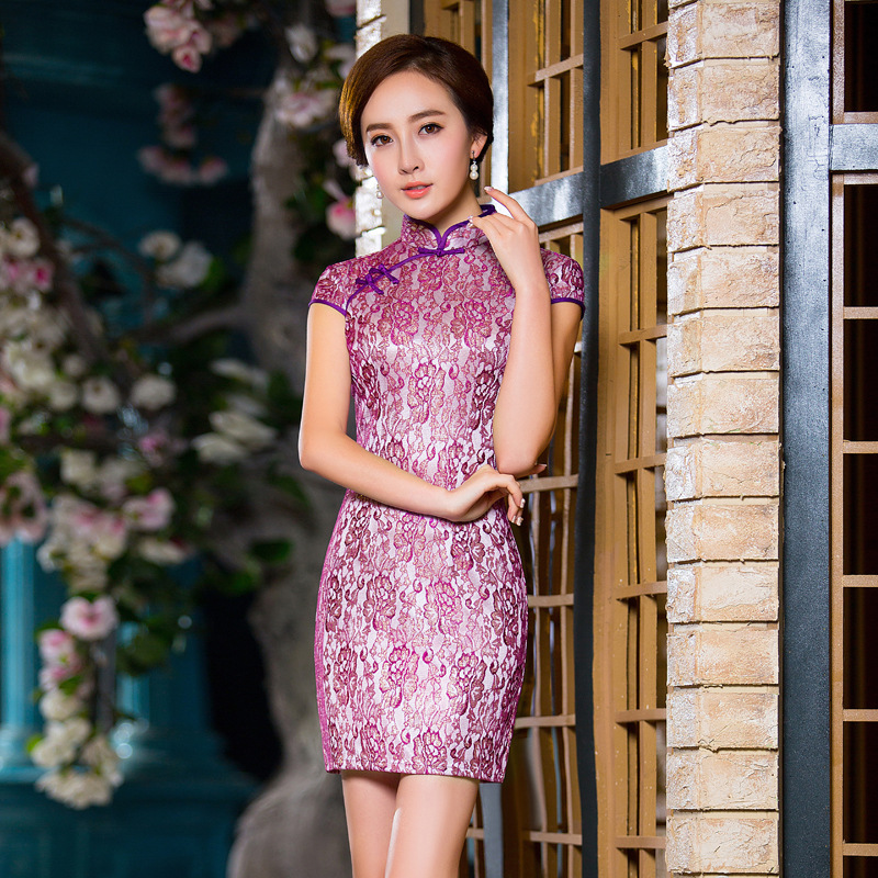 BINGO 2016 Spring and summer new style of fancy lace printing sexy improved dress chinese traditional dress 227(China (Mainland))