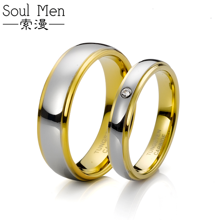 Free Shipping and Free Engraving Size 4#-12# 18K Gold Plated Tungsten ring Woman Man's setting Jewel Couple Rings(China (Mainland))