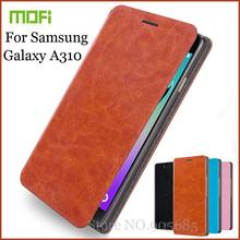 New Arrival Mofi For Samsung GALAXY A3(2016) A310 Case Hight Quality Flip Leather Case For Samsung Galaxy A310F Stand Cover(China (Mainland))