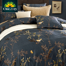 Flower Birds Sanding Egyptian Cotton King Queen Bedding Sets of Density Europe Fashion Deco Duvet Cover Bed sheet Pillowsham 4pc(China (Mainland))