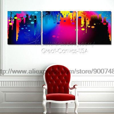 Rainbow Color Paint Modern Canvas Art Et Choice Of Oil Painting Black White Modern Art Panel Living Room Wall Abstract Be(China (Mainland))