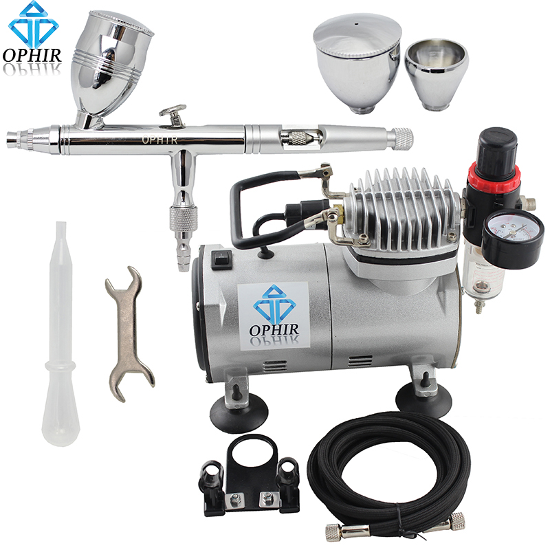 OPHIR TOP Dual-Action Airbrush 3 Cups with Mini Air Compressor for Hobby Cake Decoration 110V,220V # AC089+AC006