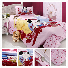 Home textile/bed sheets set/princess bedding/mickey mouse/girls bedding set/kids hello kitty sheet sets/Snow White Bedding Set(China (Mainland))