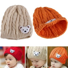 #Cu3 New Soft Winter Crochet Baby Newborn Toddler Boy Girl Beanie Hat Cute Bear Cap