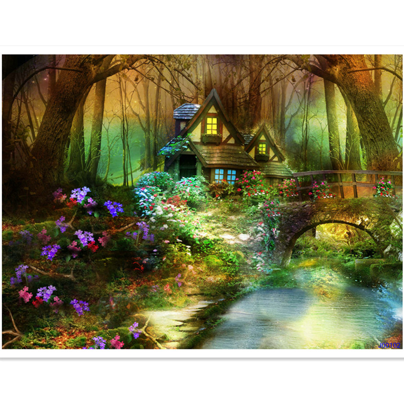 5*6.5FT vinyl photography backdrops photo studio digital printing house woods creeks full of wildflowers psychedelic for baby