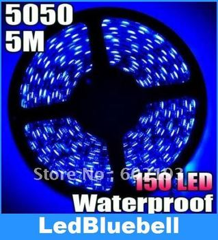 5050 SMD 5M 150 LED Waterproof Flexible Strip Light Blue Color + Free Connector