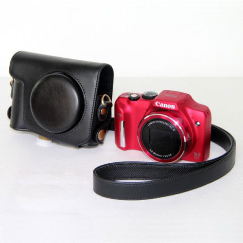 Leather Camera case bag Grip Strap Canon POWERSHOT SX170is SX170 - photo accessories store