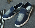 Washed denim canvas shoes Male models a pedal lazy shoes Men model of flat shoes