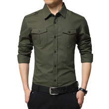 Men's Solid Blouse Long Sleeve Military Style Casual Shirts 2016 Top Tees Fashion Slim Oversized Camisas Brand Shirts M-4XL(China (Mainland))