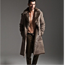 2016 Winter Office Mens Faux Fur Coat Long Style Windbreaker Slim Casual Luxury Plus Size Two-Sided Thick Mink Fur Coat V508(China (Mainland))