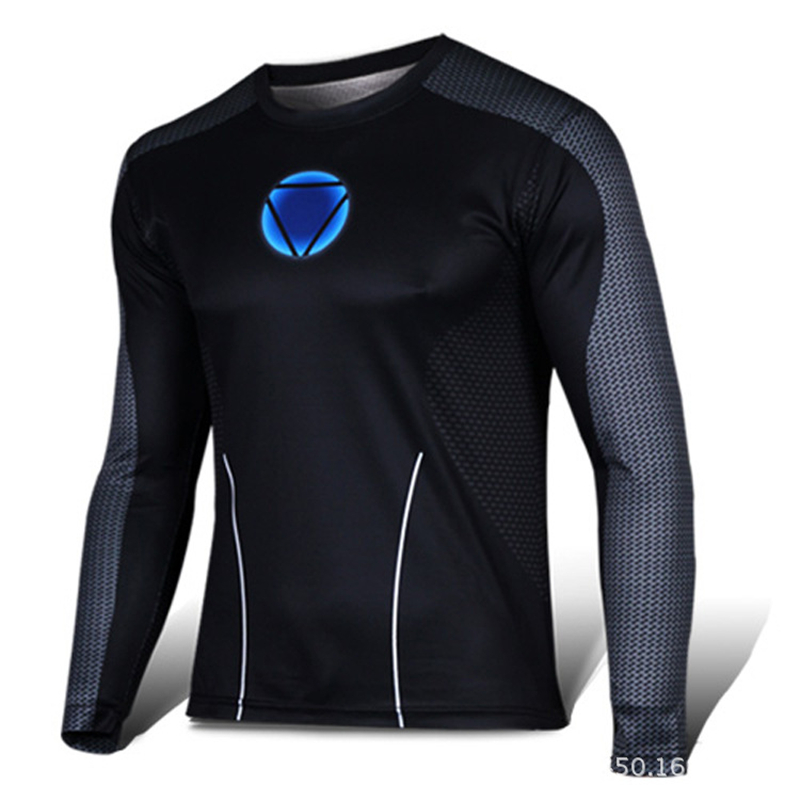 2016 high quality compression long sleeve T shirt superman batman spiderman captain America fitness gym t