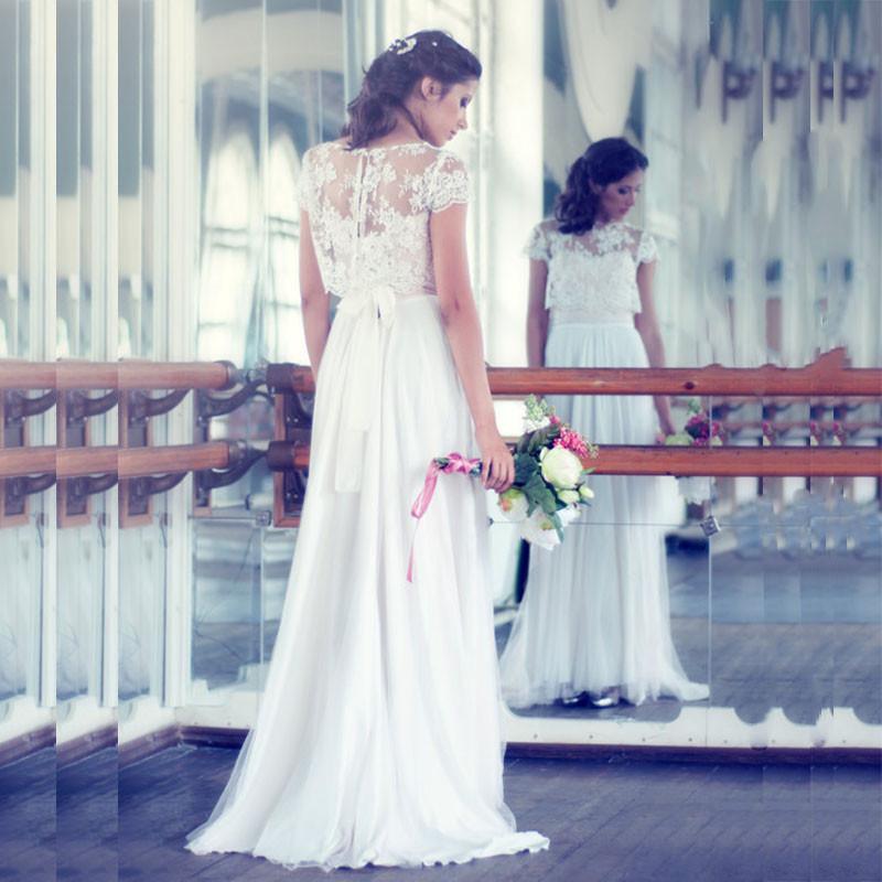 2 Piece Beach Wedding Dresses : Beach wedding dresses vintage lace chiffon bohemian dress two