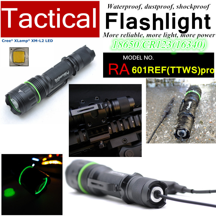 RA-601R-PRO Army CREE XM-L2 U2 Customize mode CR123 torch Tactical Flashlight light with Rail Mount,Tail-wire Pressure Switch(China (Mainland))