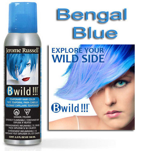 JEROME RUSSELL B WILD TEMPORARY HAIR COLOR SPRAY_BENGAL BLUE 3.5 OZ Free Shipping