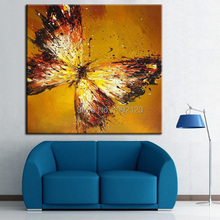 Household Adornment Picture Orange Hand-painted Oil Painting Butterfly High Quality Painting Living Room Decor Unique Gift(China (Mainland))