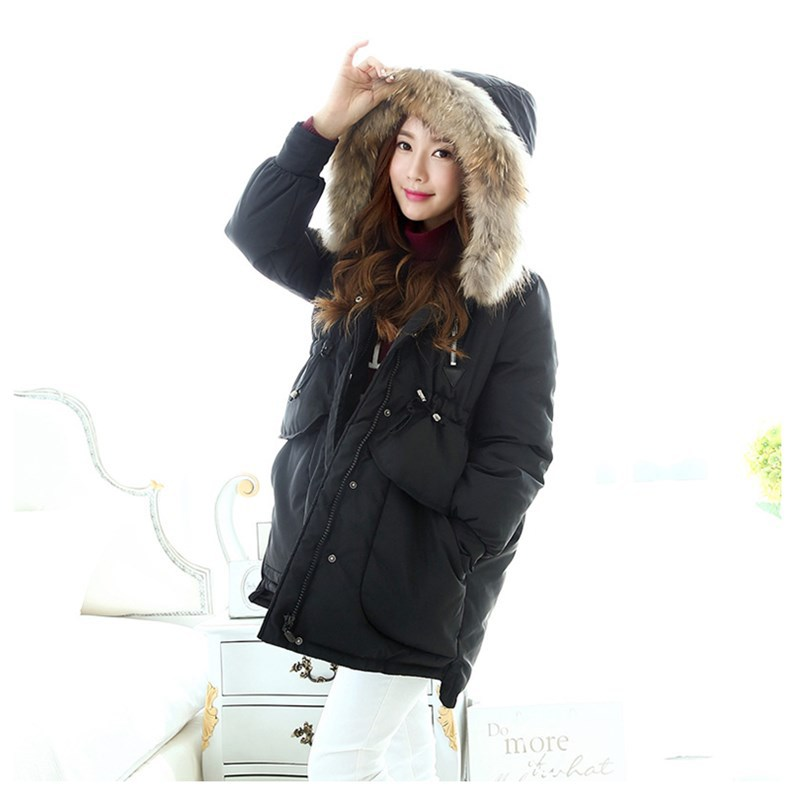 manteau femme 2015 Winter New Padded Jacket Women Long Coats Real Fur Collar Coat Korean Slim Casual Parkas JY-900