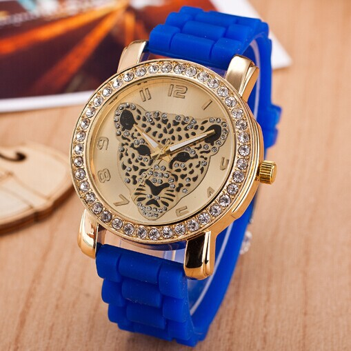 Relogio Feminino Colorful Fashion Silicone leopard head watch Women Quartz Full Artificial Diamond Dress Watch Casual Wristwatch - CX_HWJ Store store
