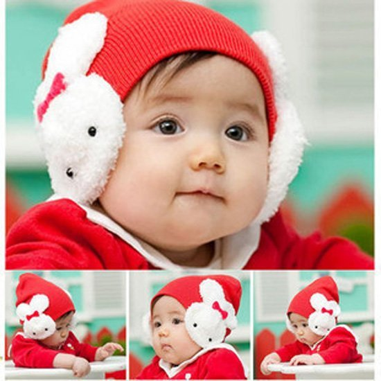 5 Colors ! 2016 New Fashion Korean Style Rabbit Animal Baby Beanies Winter Crochet Hat For Christmas