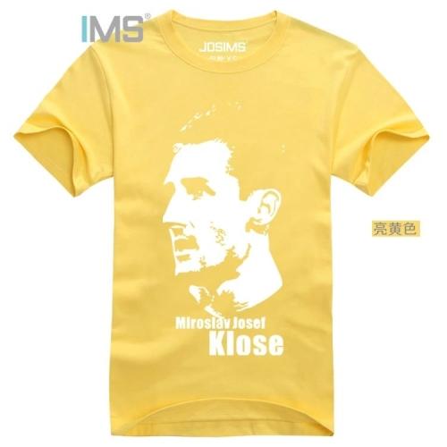 Men's short sleeve soccer jerseys plus-size football 2015 summer cotton t-shirts Germany's miroslav klose barcelona black shirt(China (Mainland))