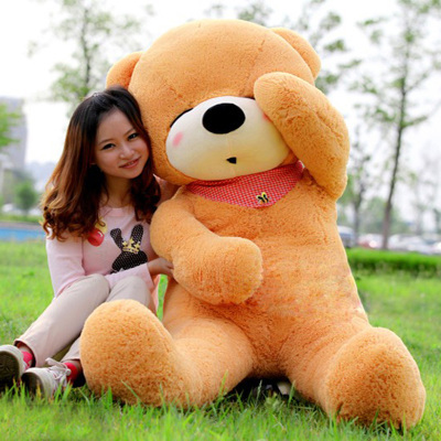 stuffed animal 140 cm teddy bear plush toy sleeping eyes bear doll throw pillow light brown colour gift w2926(China (Mainland))
