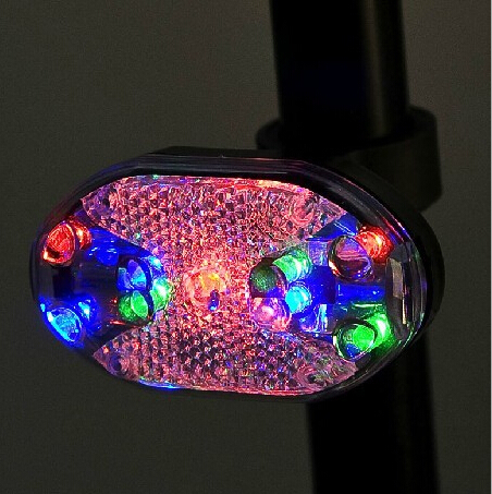 1pc High Quality Waterproof 9 LED Bicycle Rear Colors Light & Cycling Sport Safety Bicycle Warning Lights With 7 Modes(China (Mainland))