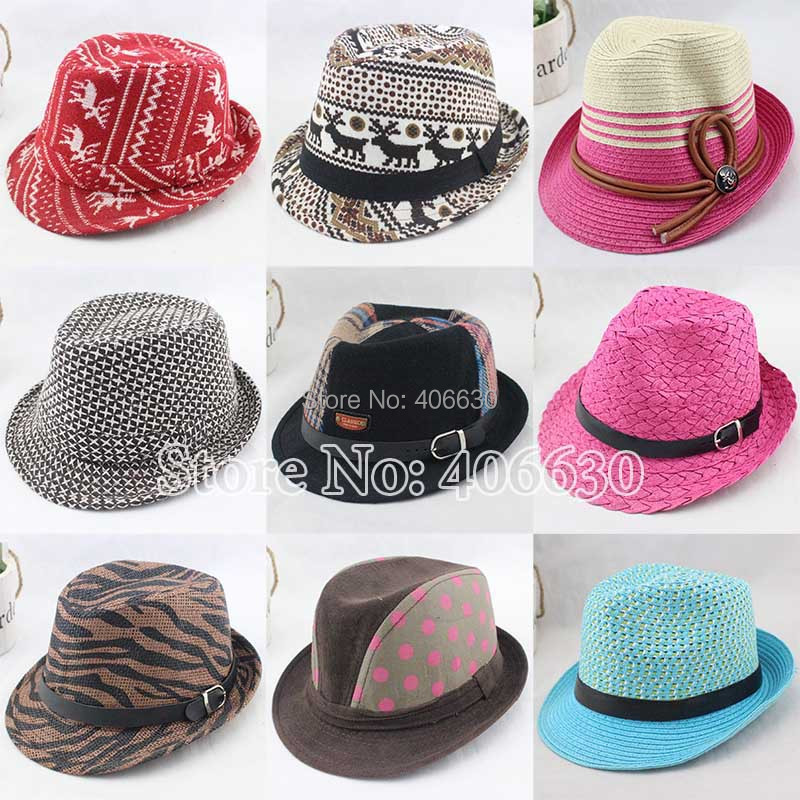 Kids Straw Fedora Hats For Children Girls Jazz Hat Chapeu Panama Hats Baby Top Hats Free Shipping IV-024(China (Mainland))