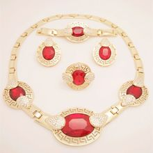 2017 Fashion Wedding African Beads For The Big Party Red CZ Diamond Jewelry Sets Gold Plated Jewelry Sets Wedding Accessories(China (Mainland))