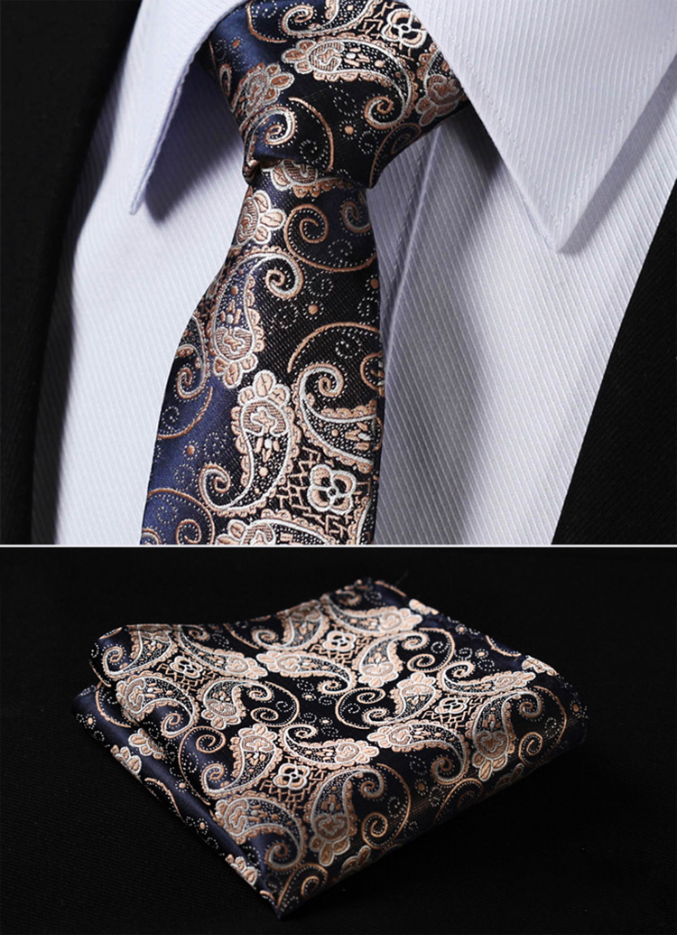 TF2013D7 Gold Navy Blue Paisley 2.75 inch 100%Silk Woven Slim Skinny Narrow Men Tie Necktie Handkerchief Pocket Square Suit Set - HISDERN store