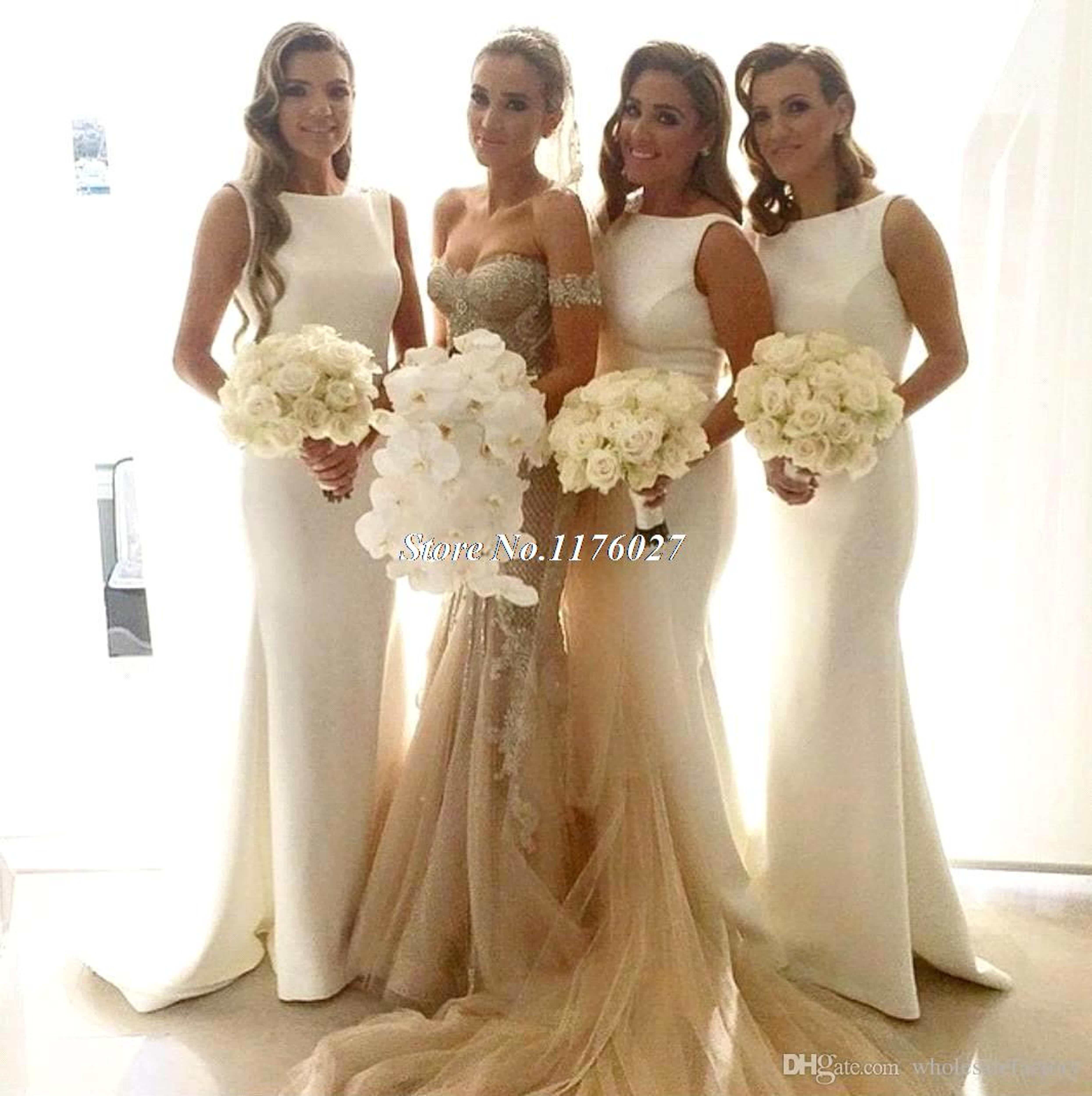 2016 New Arrival Satin Mermaid Bridesmaid Dresses Sleeveless Wedding Party Gowns Long Cheap Bridesmaids Maid Of Honor Gowns FF76
